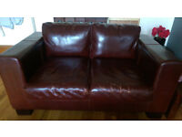 Large 4 seater and 2 seater leather settees