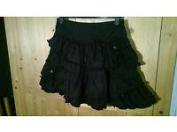 Short black frilly Dorothy Perkins skirt size 12