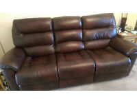 3 seater Brown Leather sofa (LazyBoy) with powered recliners for sale