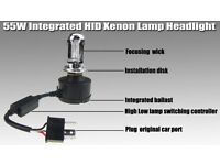 55W HID Conversion Kit H4 Bulbs Bi Xenon Headlights 6000K Hi/Lo Bulbs