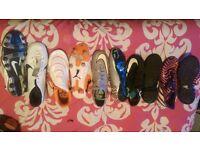 5 pair of football boots nike, adidas and puma