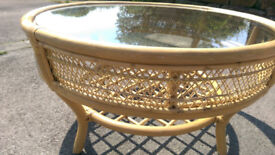 BEAUTIFUL CANE AND GLASS COFFEE TABLE: VERY HIGH QUALITY, VERY GOOD CONDITION