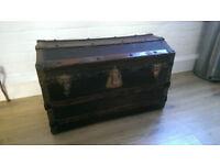 Antique Treasure wooden Chest Ottoman War Toy blanket box