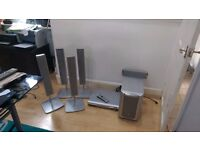 PANASONIC DVD FULL SURROUND SOUND SYSTEM WITH 6 SPEAKERS AND STANDS.