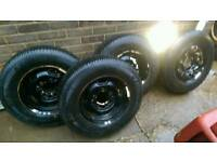 4x 195/80/15 tyres with Suzuki sj 5 stud wheels