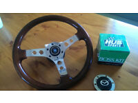 "Nardi 14"" wooden steering wheel with Mazda MX5 boss"
