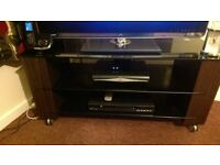 nice large tv unit/stand dark brown wood with black toughened glass