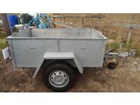 Trailer, tread plate base, aluminium sides, jockey wheel, spare wheel ,good tyres, lights/ board