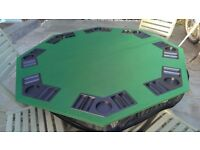 """1.2m/48"""" foldable 8 player poker table top with 400 chips, chip trays & drink holders"""