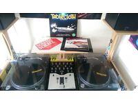 Pair of Technics SL-1210 mk2 Shure M44-7 + Ecler Hak 360 +DJ Deck Stand + 100 Vinyl