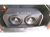"Twin 12"" JL Audio Sub in Slot Ported Box with JL Audio JX500/1D Monoblock Amp and Heavy Duty Cables"