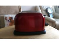Red Toaster and Red Coffee and Tea Storage Pots