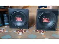 "Two JBL CS10 9"" car subwoofers with enclosures"