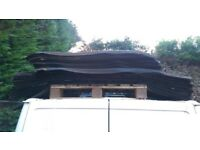 Coroline Roofing Corrugated Bitumen Roof Sheet Black approx 30 sheets @ 40 x 56 inches used damaged