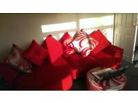 Large red family sofa + leg rest RRP £2000