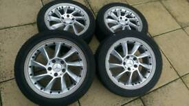 """Mercedes 17"""" Rare propeller alloy wheels with tyres."""