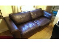 free real leather sofa -brown