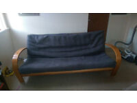 Two seater futon/sofa bed, solid wood frame