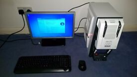 PC Computer Workstation + Screen ; Media Station Compact Desktop Core 2 Quad 500Gb HDD 4Gb RAM DVD