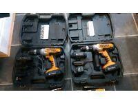 Worx WX368.3 18V Lithium Ion Cordless Hammer Drills x 2 4 x Batteries