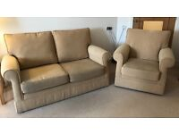 Firm and compact 2 Seater Sofa and Armchair in Mustard