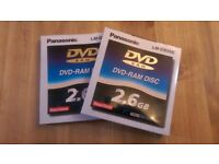 NEW 2 x Panasonic 2.6GB LM-DB26E DVD-RAM Rewritable Discs