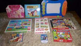 Bundle of puzzles, Frozen, Peppa Pig, dolls, kids sewing machine, nurse/ doctor set