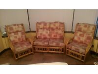 cane conservatory furniture - Sofa + two chairs