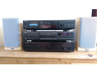 Hi-Fi Separates System - Rotel Amplifier, Sony LP MiniDisc, Technics CD Player, Tannoy MX1 Speakers