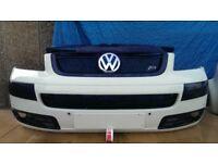 vw t5 transporter caravelle multivan front bumper in white colour + genuine ABT upper grill MINT