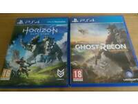 PS4 GAMES HORIZON ZERO DAWN AND TOM CLANCY'S GHOST RECON
