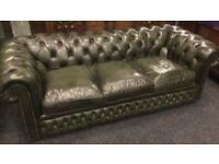Three, seater green chesterfield