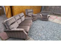 VINTAGE sofa suite; 3 seater couch, 2 matching seats