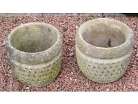 PAIR OF VINTAGE LATTICE STONE PLANTERS