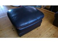 World of Leather Brown Pouffe Footstool Footrest Storage Box