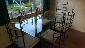 Dinning Table and 6 Chairs (wrought iron)