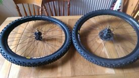 Mountain Bike Wheel Set, Disc 26inch, Complete withTyres, Tubes, Skewers