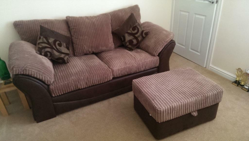 Large 2 Seater Brown Cord Sofa And Storage Footstool Dfs
