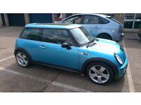 Mini Cooper S breaking, undamaged car, 2003, Electric Blue, sunroof,