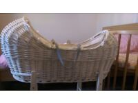 Mothercare Apples & Pears/Snug Moses Basket and Accessories