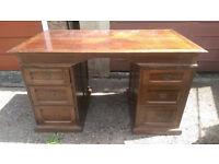 Vintage Style Wooden Pedestal Desk Kneehole Desk Shabby Chic Desk Decoupage