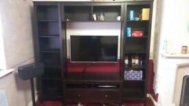 Ikea Hemnes Black/Brown TV Combination Unit - 2 x Bookcases, 1 x TV Bench, 1 x Connecting Shelf