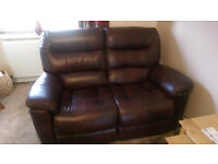 Brown leather sofa (2 seater).