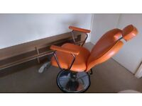 Threading/Barber/Styling Chair - Hydraulic Gas Lift Base & Recline, Arm and Foot Rest