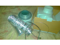 Hydroponics or Grow room ventilation - inline fan, carbon filter, ducting and clamps. New unused