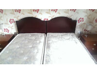 2 single divan beds - can be zipped and linked into one large king size bed