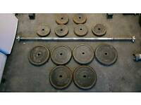 York 5ft Barbell and 90kg weight discs (May Split)