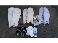 Selection of cricket pads / gloves etc