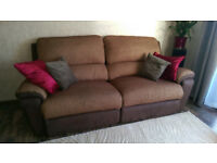DFS Brown Fabric Electric Reclining Sofa - RRP: £1000