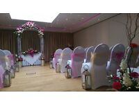 Wedding Chair covers, candy cart, venue dressing, starlit backdrop hire in Surrey